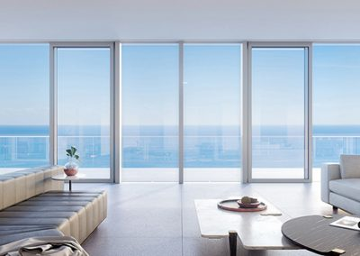 3D rendering sample of a living room design at 2000 Ocean condo.