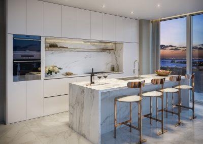 3D rendering sample of a modern, kitchen design at 57 Ocean condo.