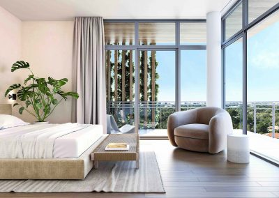 3D rendering sample of a bedroom design at Arbor Residences Miami condo.