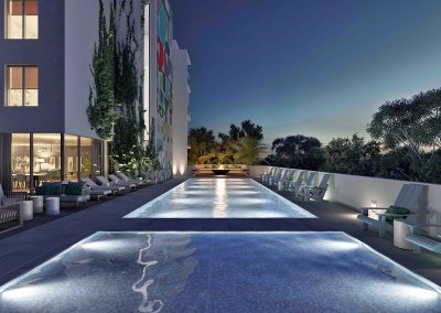 3D rendering sample of the pool deck design at Arbor Residences Miami condo at night.