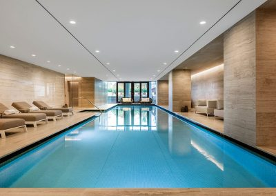 Photograph of the interior pool at Arte Surfside condo.