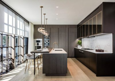 Photograph of a modern, dark wood kitchen at Arte Surfside condo.