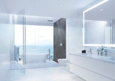 3D rendering sample of a white modern bathroom design at Aston Martin Residences.