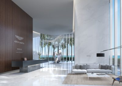 3D rendering sample of Aston Martin Residences' lobby.