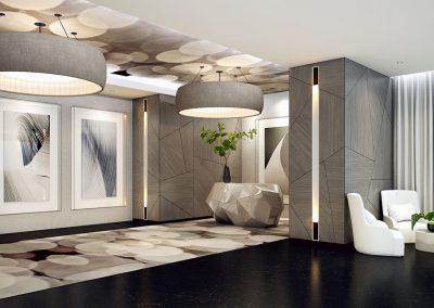 3D rendering sample of the lobby design at Aurora condo.
