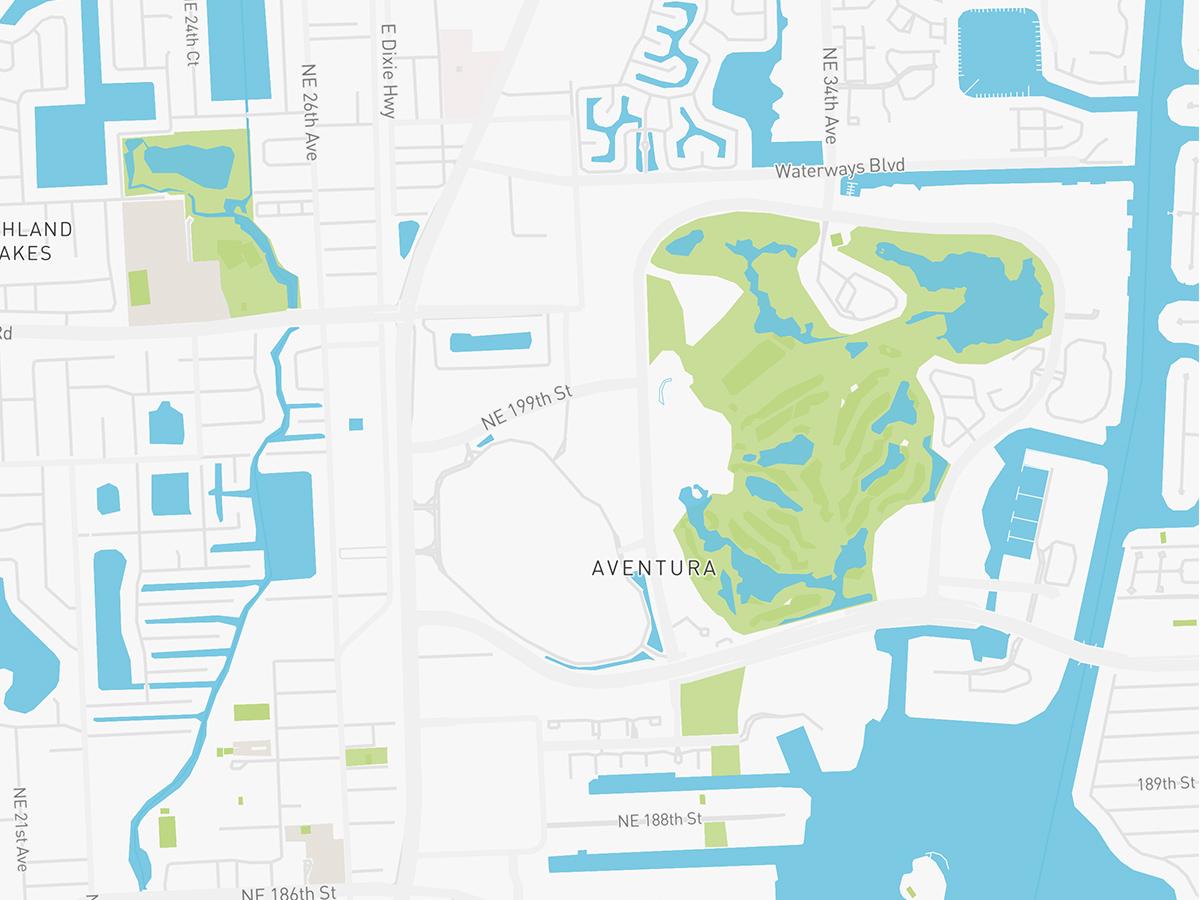 Map illustration of Aventura Florida.