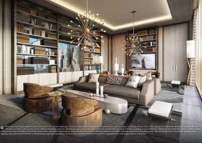3D rendering sample of a library design at Elysee condo.
