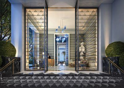 3D rendering sample of the lobby design at Elysee condo.