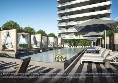 3D rendering sample of the pool deck design at Elysee condo.