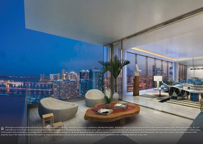 3D rendering sample of another large terrace and interior of a large living room at Elysee condo.