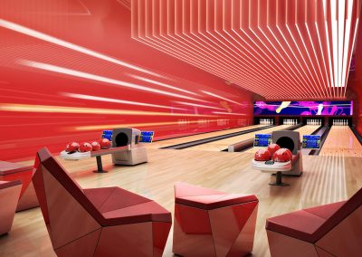 3D rendering sample of a bowling alley design at The Estates at Acqualina condo.