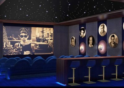 3D rendering sample of the theater design at The Estates at Acqualina condo.