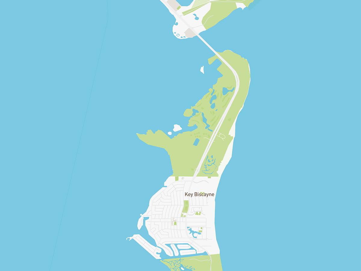 Map illustration of Key Biscayne, Florida.