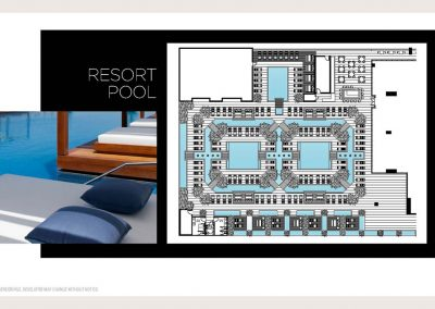 Architectural illustration of Legacy Hotel & Residences' resort pool aquatic experiences.