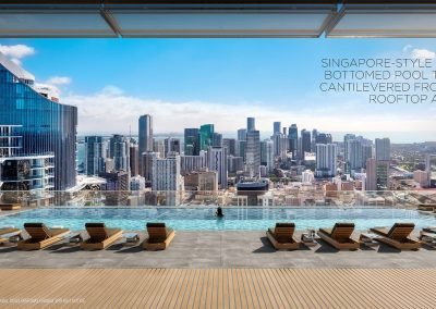 3D rendering sample of the roof top pool at Legacy Hotel & Residences condo.