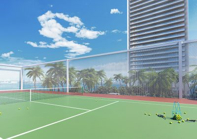 3D rendering sample of the tennis court at Missoni Baia condo.
