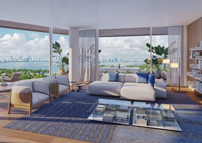 3D rendering sample of a living room at Monaco Yacht Club & Residences.