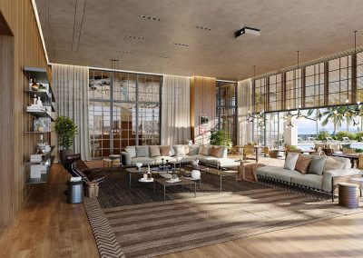 3D rendering sample of the clubroom design at Natiivo Miami condo.