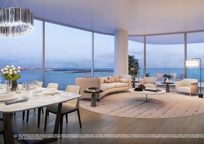 3D rendering sample of a large living room design at Una Residences condo.