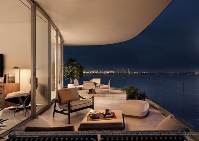 3D rendering sample of a large terrace design at Una Residences condo at night.